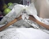 Wedding hanger rhinestone and lace on wood elegant
