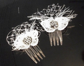 Bridal mini hair combs lace and rhinestone centers french tulle