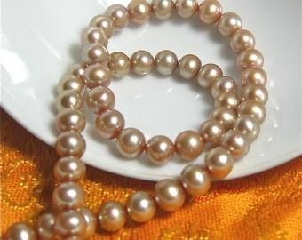 Champagne Potato Pearls - FULL Strand - 5.5-6.5mm