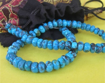 8 inch strand Turquoise rondelles - BEAUTIFUL