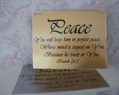 PEACE - Hand printed brushed gold metal Wall Hanging - from Praise Art