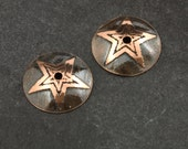 Handmade Etched Copper Bead Caps With 5 Point Stars, 12mm, 1 Pair (2 Caps)
