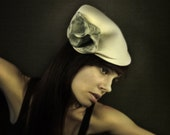 Cream Felt Hat/Cloche with Blue Splatter Accents - The Protection Series