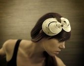 Cream Felt Headband with Copper Splatter, Feathers, and Vintage Button Accents-Made to Order