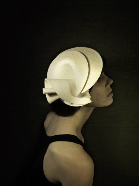Cream Felt Hat/Cloche - The Protection Series - Made to Order