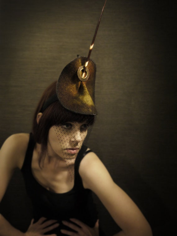 Olive Felt Cocktail Hat/Headband With Chain, Brass and Porcupine Quill Accents - Arthropod Series