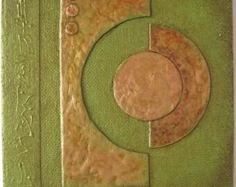 Handmade Journal Green Copper Lunar Refillable 7x5 OOAK Original
