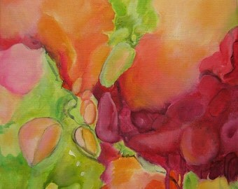 Acrylic Abstract Original Art Modern Contemporary Painting orange pink red green yellow. Cocooning 105