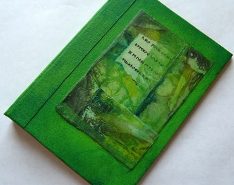Refillable Journal Handmade Lime Green Rice Paper Collage 7x5 Original
