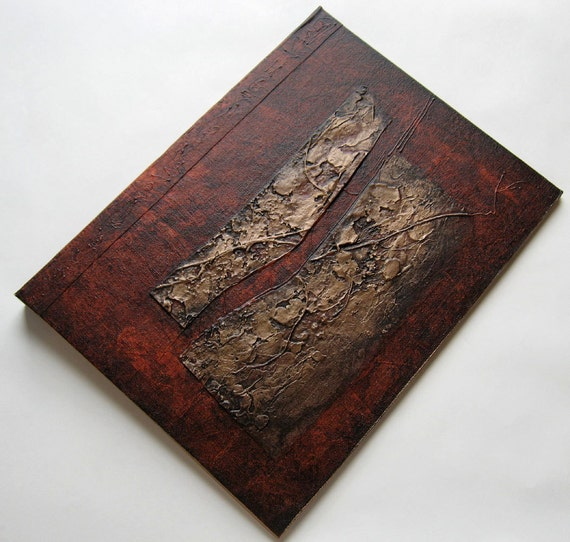 Handmade Journal Distressed Burnt Sienna Sepia Textured Copper Refillable 12x9 Original
