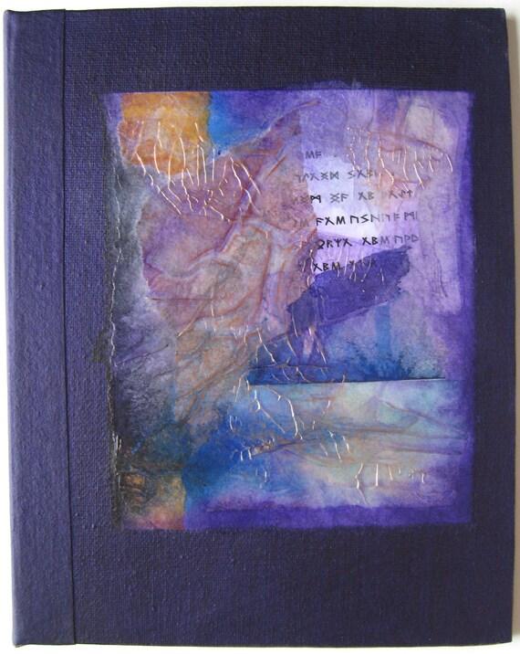 Rune Handmade Journal Refillable Violet Rice Paper Collage 9x7 Original