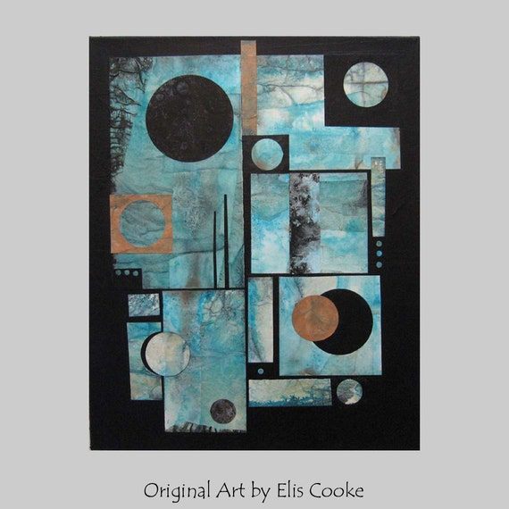 RESERVED Original Contemporary Abstract Collage Painting Modern art ebsq. Turquoise copper black. Opposing Forces VII