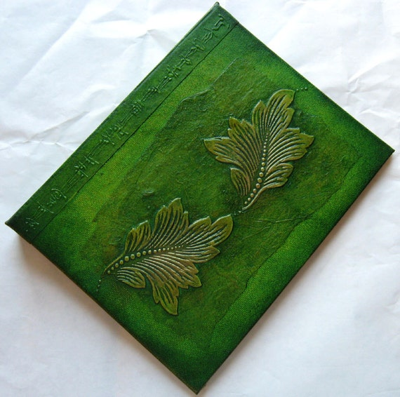 Refillable Journal Handmade Lime and Green Copper Leaves 9x7 Original