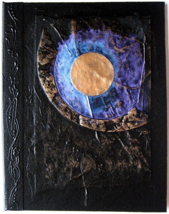 Moon Journal Refillable Black Copper 9x7 Handmade Original