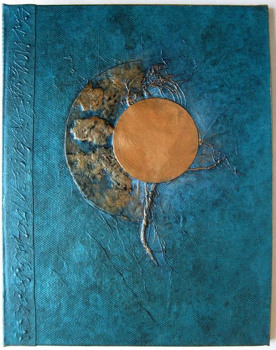 Moon Journal Handmade Refillable Turquoise Copper 9x7 Original