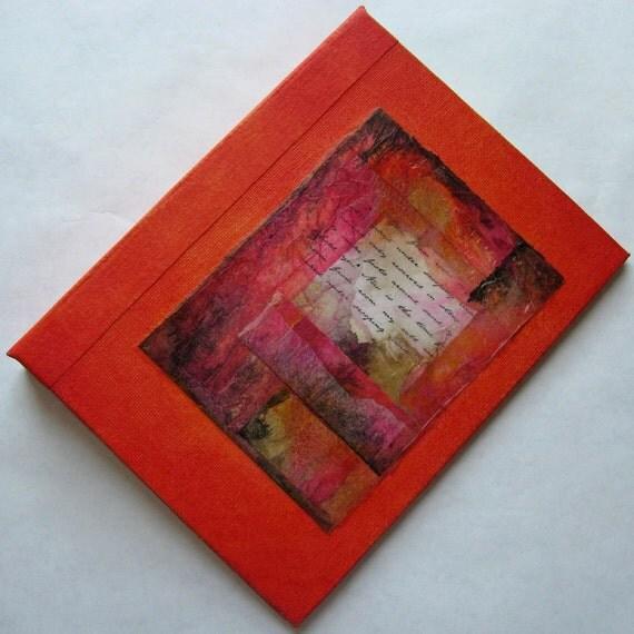 Handmade Journal Refillable Orange Rice Paper Collage 8x6 Original