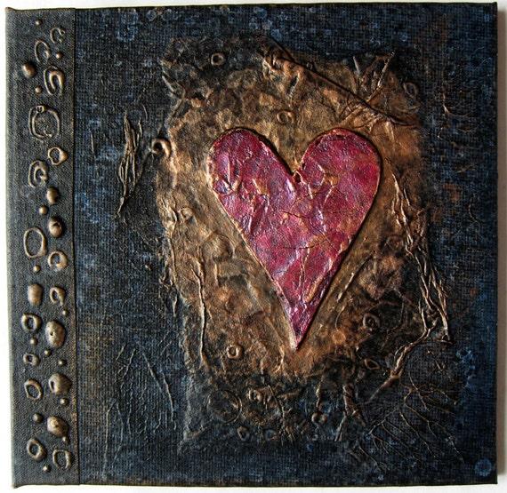 Refillable Journal Handmade Charcoal Copper Cracked Heart Original 6x6
