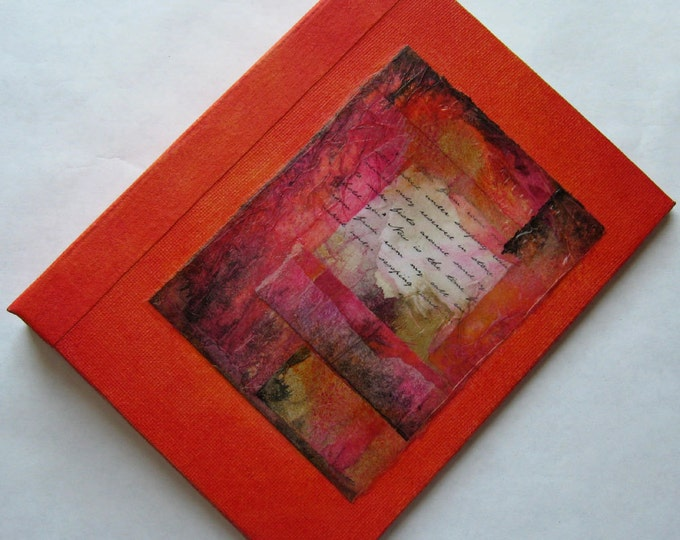 Handmade Journal Refillable Orange Rice Paper Collage 8x6 Original