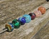 Runes 5 - Gaerwen- flat backed lampwork beads