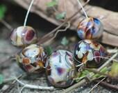 "Lampwork beads -  ""Treacle Tartan"""