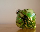 Hand Painted Glass Heart Ornament