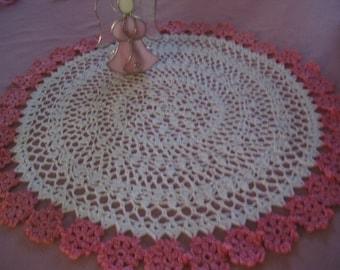 Large White Handmade Round Crocheted Doily - 34 pink flowers around the edge