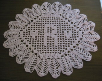 "Custom Crocheted Initial Doilies ""R"""