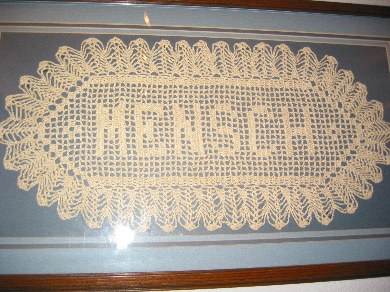 Custom Handmade Crocheted Name Doilies Crochet Name Doily