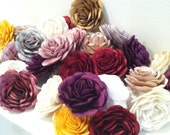 Silk Fabric Rose Embellishments in Metallic Colors