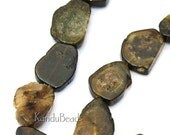 Green TOURMALINE NATURAL nugget slice slab beads 15mm 13 inch strand