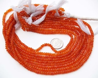 AA Carnelian Agate micro FACETED roundel beads 3.5mm orange 14 inch Strand.
