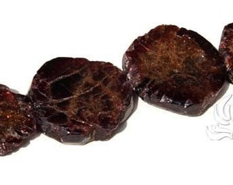 ONE GARNET Slab focal Bead Red Brown 18mm Sparkle 1 bead