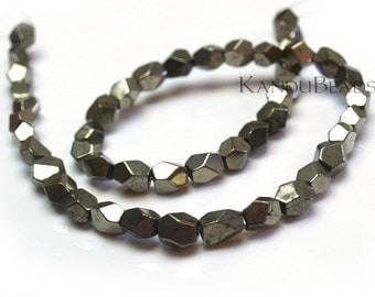 """Golden Iron Pyrite Polished Cut Faceted Nugget Beads 8mm 7"""" Half Strand (Fools Gold)"""