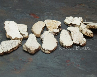 White Turquoise, Magnasite TD 40-60mm slab bead ONE Focal bead