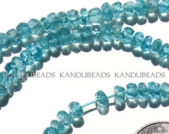 BRIGHT Blue Green Apatite FACET Rondelle beads 4.5-5 mm AA 13 inch