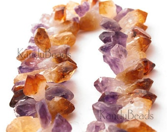 Medium Amethyst Citrine Crystal Point Beads 15-35mm TD Natural (Choose Strand Length)
