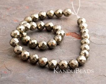 SALE  - Golden Iron Pyrite Polished Faceted Round Beads 10 mm (Fools Gold) A Grade
