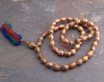 Rustic Handmade Ethiopian Prayer Beads Copper and Brass beads 10x14mm 14 inch Half strand