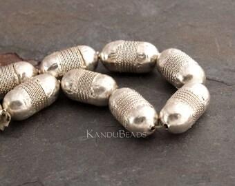 3 Silver Color Metal Handmade Ethiopian Prayer Bead, Egg shape 25x13mm