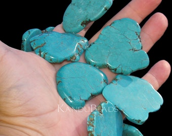 Turquoise Color, Magnasite TD 40-60mm slab bead ONE Focal bead