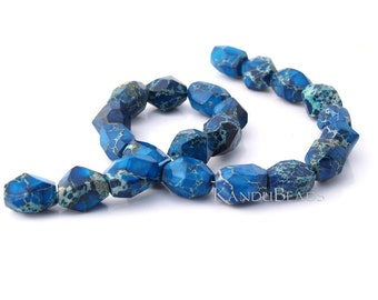 Impression Jasper (aqua terra jasper) Bright Blue Tan Faceted Nugget Beads 13x18mm CHOOSE QUANTITY
