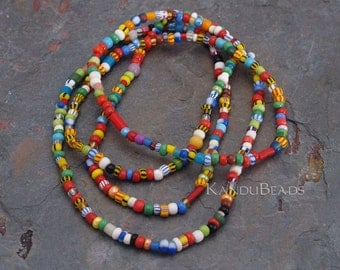 "Glass Beads African ""Christmas"" Trade Beads 36 inch"