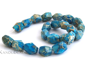 Impression Jasper (aqua terra jasper) Teal Turquoise Blue Tan Faceted Nugget Beads 13x18mm SELECT QUANTITY