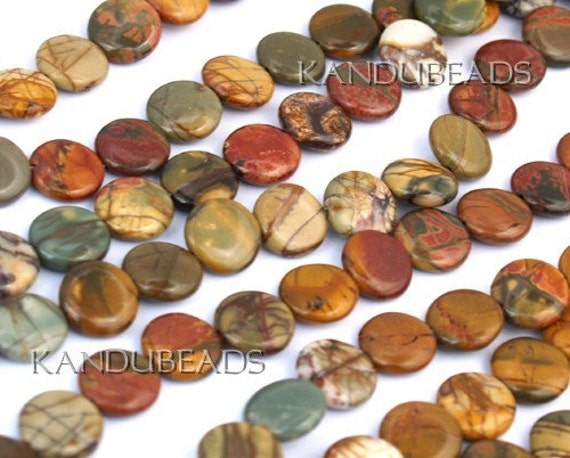 Autumn Picasso Picture JASPER Red Green Brown Coin beads 16mm, 15 inch Strand