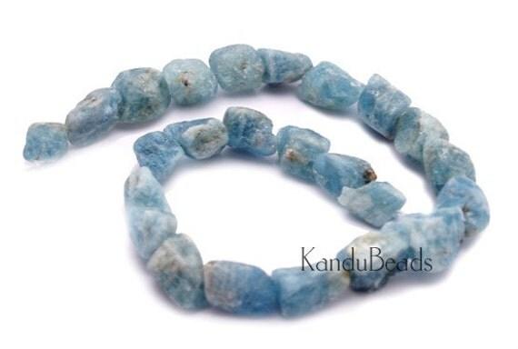 Aquamarine rough Nugget beads 18-20mm 2 beads  Blue Natural
