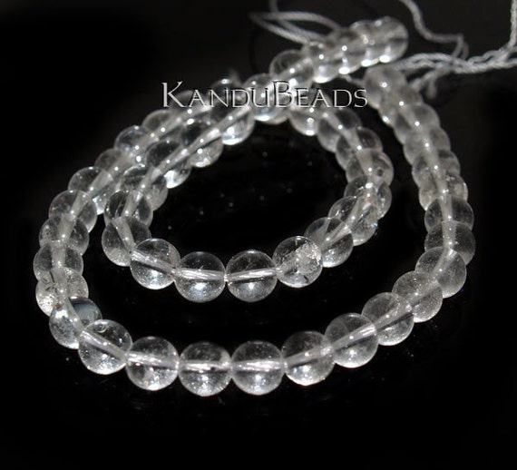 """Natural Crystal Quartz round beads 8mm white clear 15""""  AB grade"""