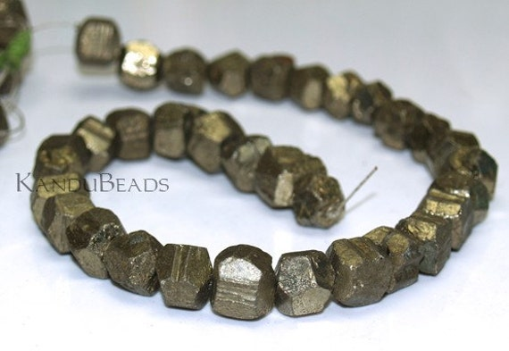 resesrved for Fiona Golden Iron Pyrite Natural facet nugget beads 15mm 14 inch (FULL strand) (32 beads)