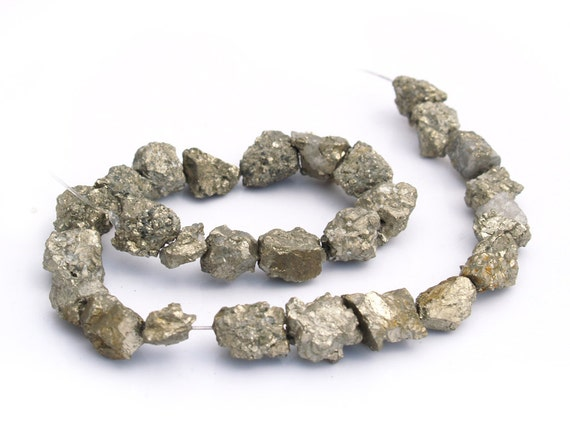 "Golden Iron Pyrite Natural ""Crunchy"" ROUGH nugget beads 15mm 7 inch (Half strand) (12- 16 beads)"