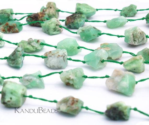 "Chrysoprase Mint Green with Brown  Irregular Nugget beads 7"" (11 beads) 18-25mm"