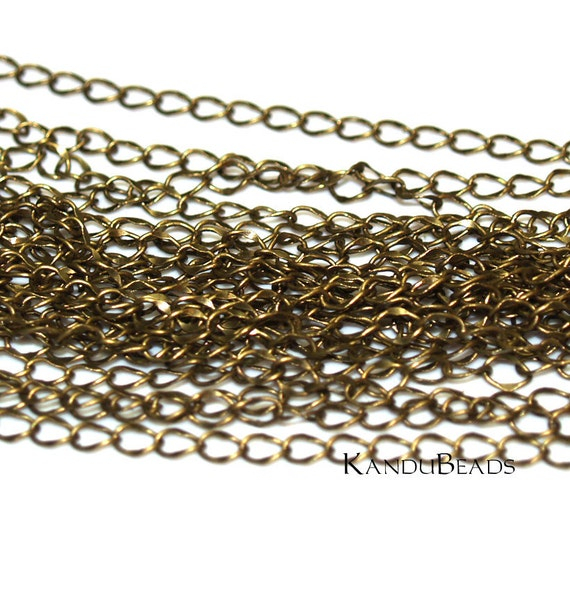 6 Feet (2 Yards) Antique Brass Color Metal Curb Chain, 4x5.5mm Steampunk enough for 3 generous necklaces